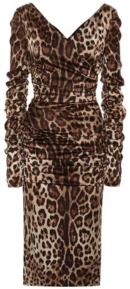 Dolce & Gabbana Leopard stretch silk satin dress