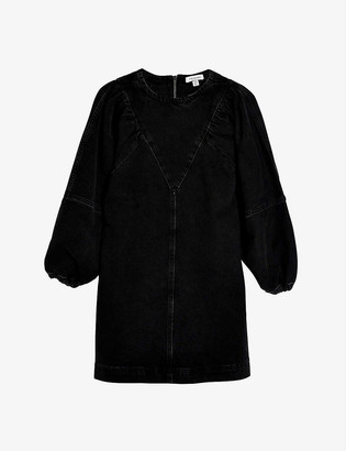 Topshop Puff-sleeve denim mini dress