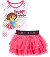 Children's Apparel Network Dora the Explorer 'Butterflies' Polka Dot Tee & Skort - Toddler
