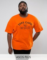 Asos Plus Oversized T-shirt With Take Care Print