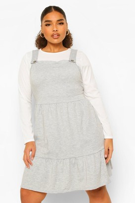 boohoo Plus Tiered Smock Pinafore Dress