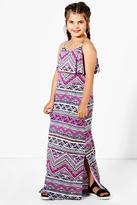 Boohoo Girls Frill Top Print Maxi Dress