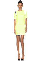 MSGM Tweed Dress in Neon Yellow