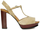 See by Chloe Women's Suede Platform T Bar Heeled Sandals Beige