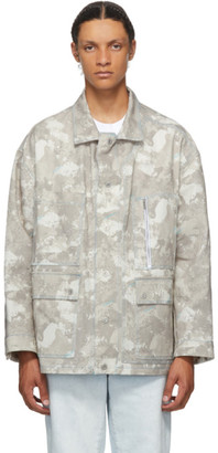 Marcelo Burlon County of Milan Beige and White Safari Camouflage Jacket