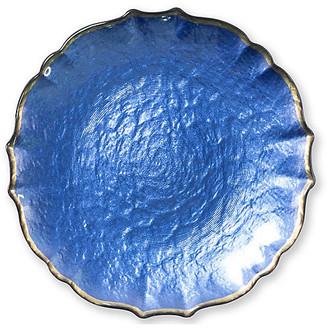 Vietri Pastel Glass Salad Plate - Cobalt cobalt/gold