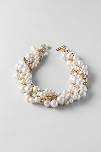Lands' End Women's Pearl and Chain Multi Strand Necklace