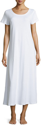 P Jamas Butterknit Short-Sleeve Long Gown