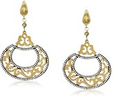 "Azaara Filigree"" Small Filigree with Clear Pave Cubic Zirconia Drop Earrings"