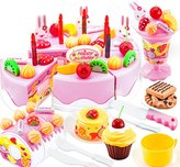 Elisona-75 PCS Kids Children Plastic Educational Kitchen Cake Dessert Toy Set Christmas Gift Toy for Over 3 Years Old Kids