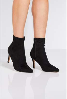 Quiz Black Faux Suede Pointed Toe Sock Boots