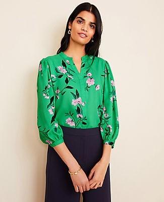 Ann Taylor Floral Nehru Collar Popover Top
