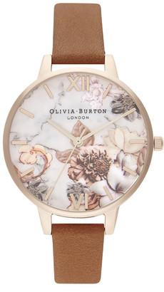 Olivia Burton Women's Marble Floral Watch - Honey Tan/Rose Gold