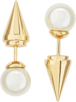 Majorica Golden Pearl Spike Front-Back Stud Earrings, 8mm