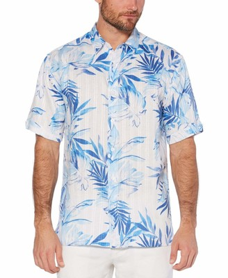 Cubavera 100% Linen tropical leaves print shirt