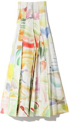 Rosie Assoulin Million Pleats Skirt in Capri Sun Watercolor