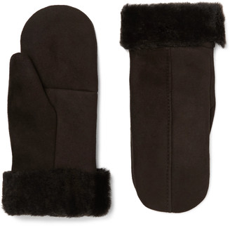 Dents Inverness Shearling-Lined Suede Mittens - Men - Brown