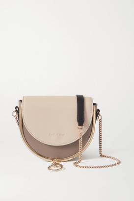 See by Chloe Mara Embellished Two-tone Leather Shoulder Bag - Light gray