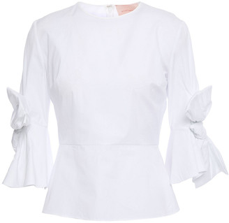 Roksanda Kemi Bow-embellished Cotton-poplin Peplum Top