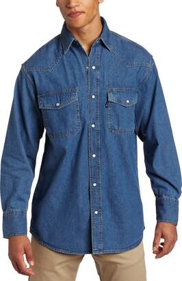 Key Apparel Key Industries Men's Long Sleeve Western Snap Denim Shirt Big/Tall 4X-Large
