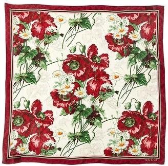 Gucci Floral Print Gg Silk Scarf