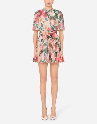Dolce & Gabbana Short Camellia-Print Chiffon Dress