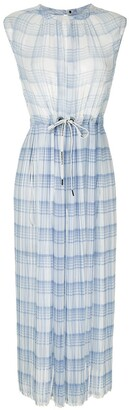 À La Garçonne Checkered Pleated Midi Dress
