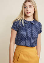 ModCloth Play Tell Collared Top in Feathers in 16 (UK)
