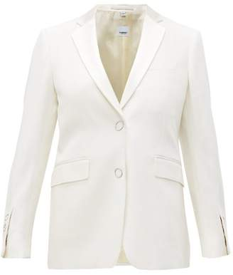 Burberry Single-breasted Satin-lapel Wool Jacket - Womens - White