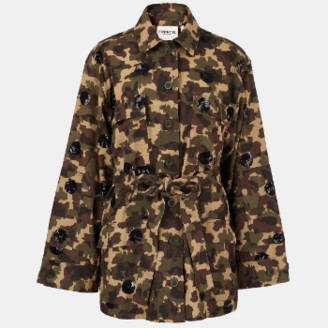 Essentiel Camouflage Print Cotton Jacket with Black Sequin Polka Dots - 34
