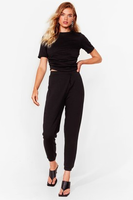 Nasty Gal Womens Relax and Take Notes Tee and Joggers Set - Black - 6