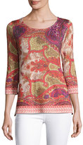 Neiman Marcus Superfine Medallion Half-Sleeve Tunic
