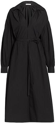 Co Essentials Belted Poplin Midi Dress