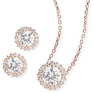 Ingenious Jewellery Sterling Silver Rose Gold Plated Necklace of Length 22.2-23.7cm and Earrings Set with Diamond Cut Crystals in a Pave Surround