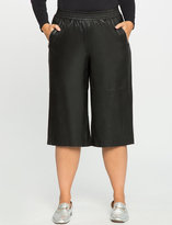 ELOQUII Plus Size Studio Faux Leather Culottes