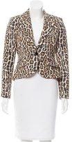 Alice + Olivia Leopard Print Leather-Trimmed Jacket