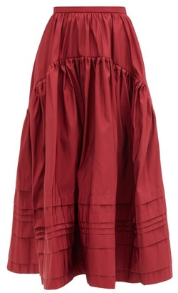 Rochas Pintucked Gathered Midi Skirt - Burgundy