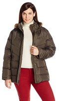 Larry Levine Women's Plus-Size Down Jacket with Removable Faux Fur Trim Hood