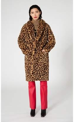 Veda Bexar Faux Fur Coat Leopard