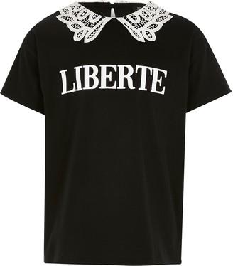River Island Girls Black 'Liberte' lace collar T-shirt