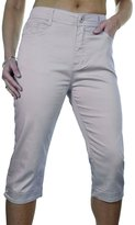 Ice 1510-9) Diamante Cuff Crop Leg Capri Stretch Jeans Grey