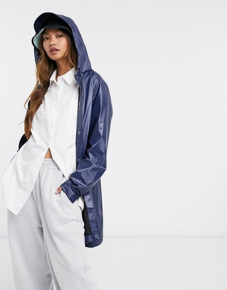 Rains a-line jacket in shiny blue
