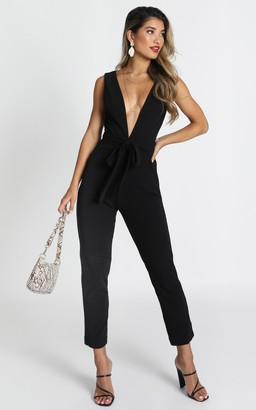Showpo Leave No Trace Jumpsuit in black - 10 (M) Fitted Jumpsuits