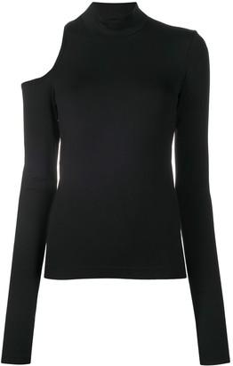 Helmut Lang Long Sleeve Cut Out Jersey Top