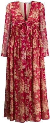 RED Valentino Floral Tapestry Print Flared Dress