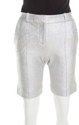 Diane von Furstenberg Metallic Silver Silk Lined New Boymuda Shorts S