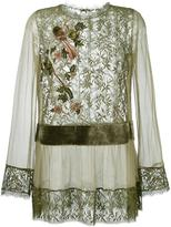 Alberta Ferretti lace semi sheer blouse