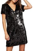 Miss Selfridge Sequin Velour Dress, Black