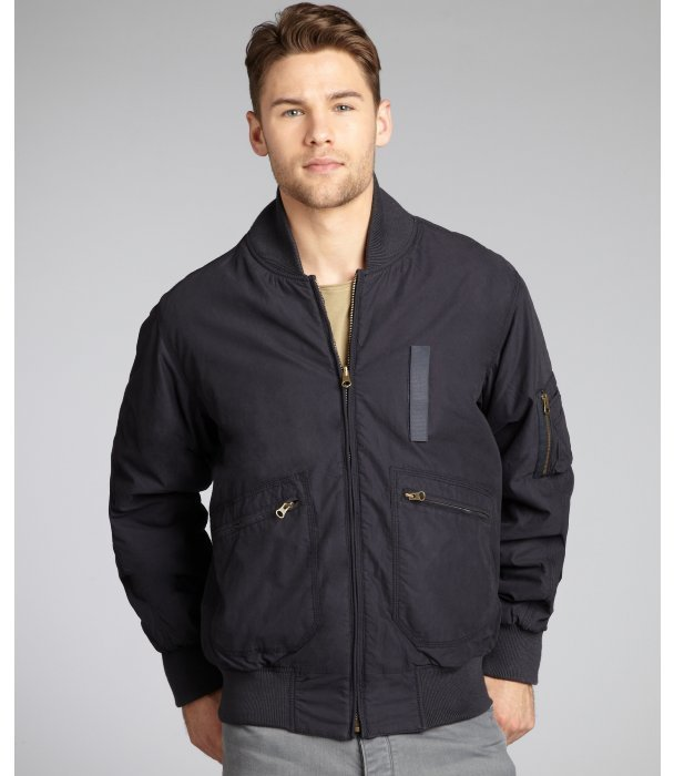 French Connection navy cotton blend reversible rib knit trim bomber jacket