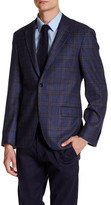 Ike Behar Navy Plaid Double Button Notched Lapel Wool Jacket